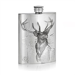 AE Williams Pewter Embossed Stag Hip Flask