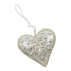 Art Deco Hanging Beaded Heart Decoration