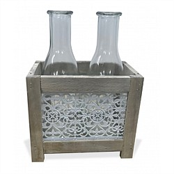 Metal Lace & Wooden Box With Bottle